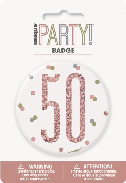 Glitz Rose Gold Age 50 Badge